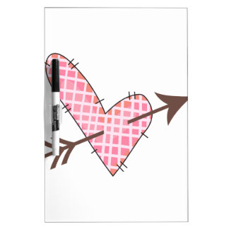 Quilted Heart With Arrow Dry-Erase Whiteboards