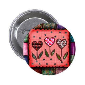 Quilted Hearts T-shirts and Gifts Button