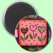 Quilted Hearts Magnet
