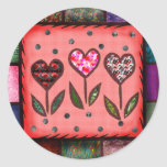 Quilted Hearts T-shirts and Gifts Round Stickers