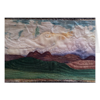 Quilted landscape hills and sky greeting card
