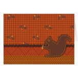 Quilted-look Squirrel for Thanksgiving Card