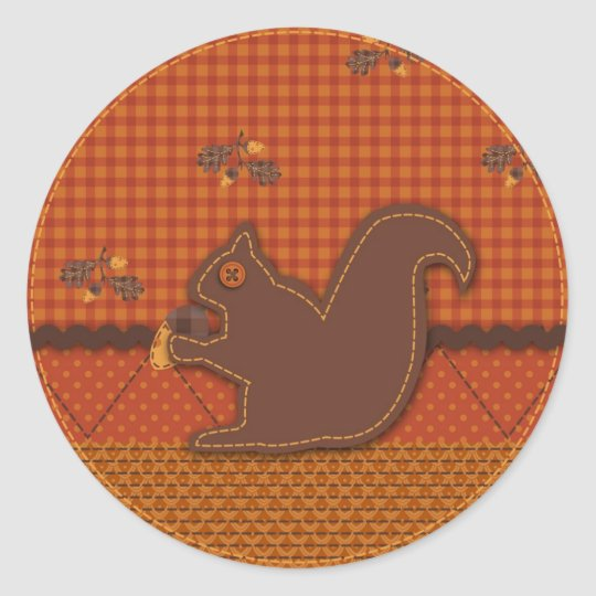 Quilted-look Squirrel for Thanksgiving Classic Round Sticker