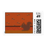 Quilted-look Squirrel for Thanksgiving Postage Stamps
