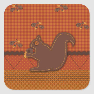 Quilted-look Squirrel for Thanksgiving Square Sticker