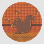 Quilted-look Squirrel for Thanksgiving Round Stickers