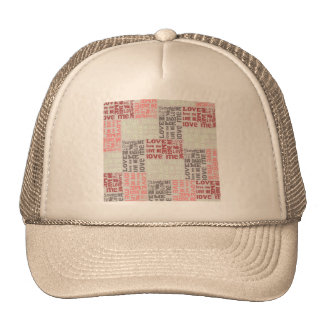 QUILTED LOVE TYPOGRAPHY DESIGN BACKGROUNDS TEMPLAT MESH HAT