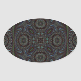 Quilted Mosaic Fractal 8 Oval Sticker
