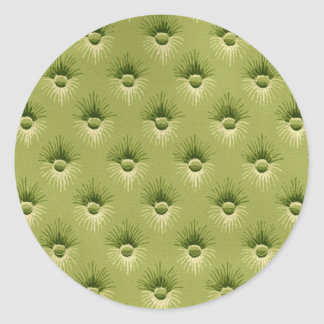 Quilted Olive Vintage Wallpaper Classic Round Sticker