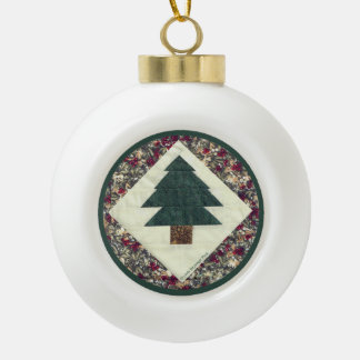 Quilted Pine Tree Ceramic Ball Christmas Ornament