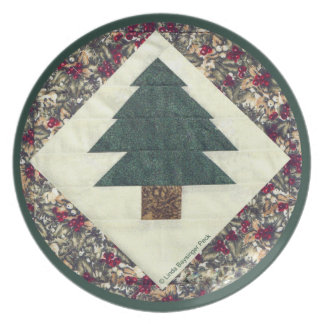 Quilted Pine Tree Dinner Plate