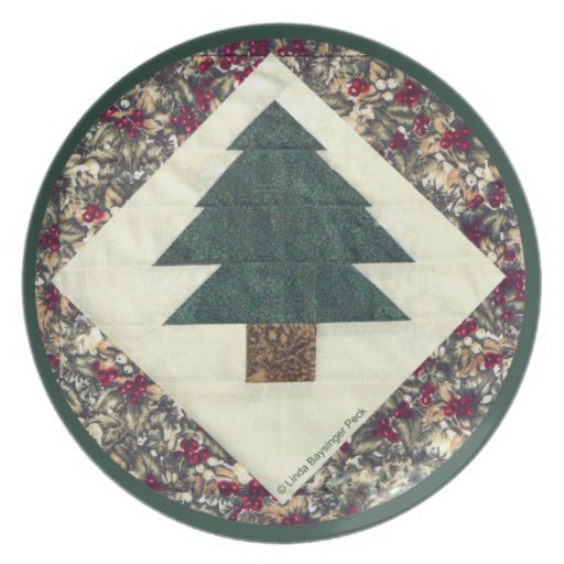 Quilted Pine Tree Party Plates