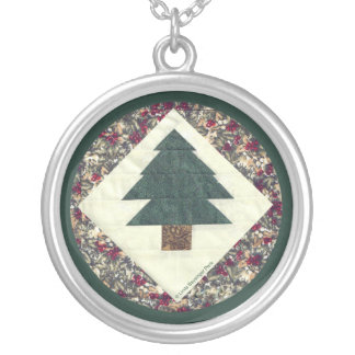 Quilted Pine Tree Round Pendant Necklace