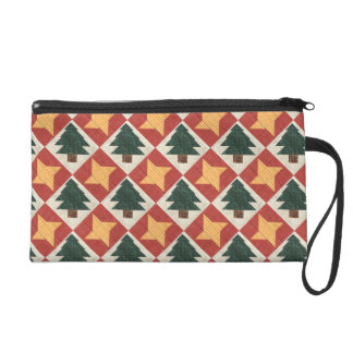 Quilted Pine Trees and Stars Wristlet Clutch