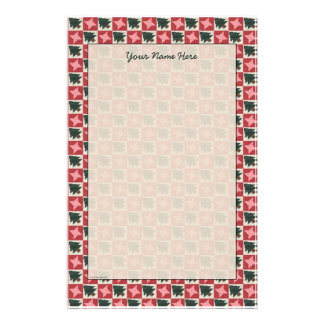 Quilted Pine Trees and Stars Border Stationery