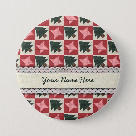 Quilted Pine Trees and Stars Button