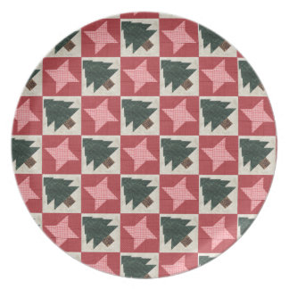 Quilted Pine Trees and Stars Dinner Plate