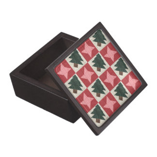 Quilted Pine Trees and Stars Gift Box