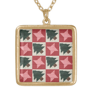 Quilted Pine Trees and Stars Gold Plated Necklace