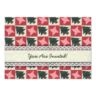 """Quilted Pine Trees and Stars 5"""" X 7"""" Invitation Card"""