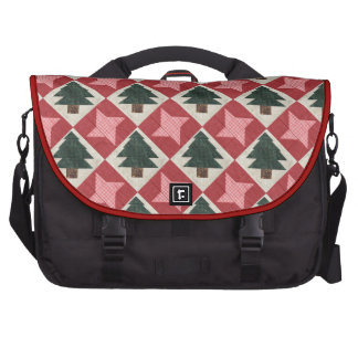 Quilted Pine Trees and Stars Laptop Bags