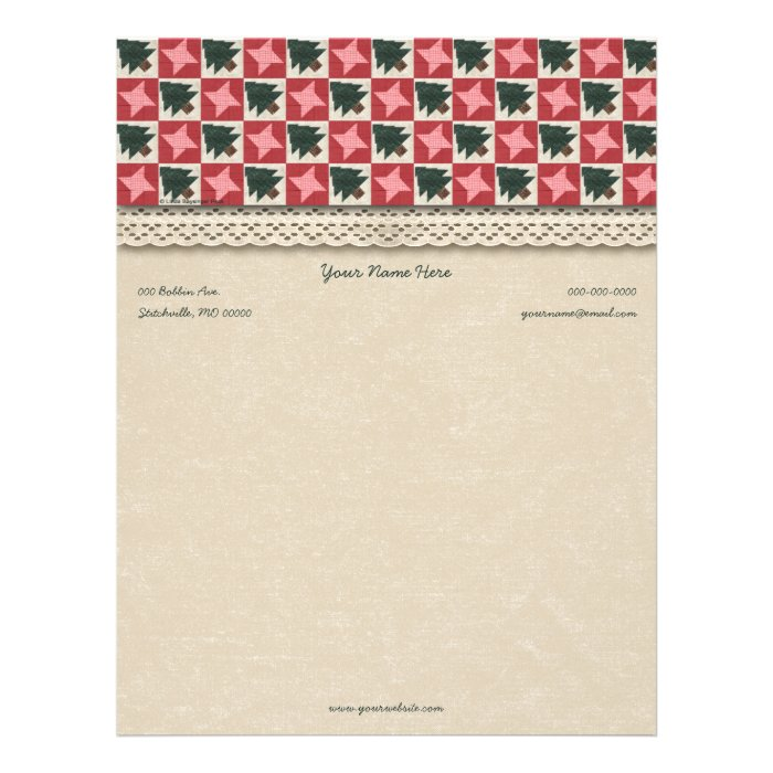 Quilted Pine Trees and Stars Letterhead