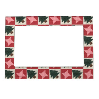 Quilted Pine Trees and Stars Picture Frame Magnet