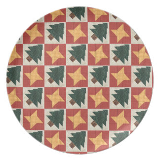 Quilted Pine Trees and Stars Melamine Plate