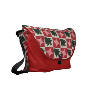Quilted Pine Trees and Stars Messenger Bag