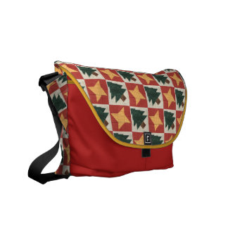 Quilted Pine Trees and Stars Courier Bag