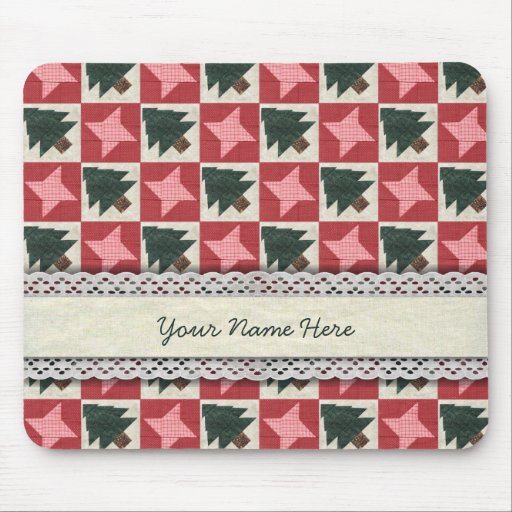 Quilted Pine Trees and Stars Mouse Pad