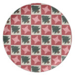 Quilted Pine Trees and Stars Party Plate