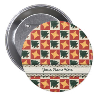 Quilted Pine Trees and Stars Pinback Button