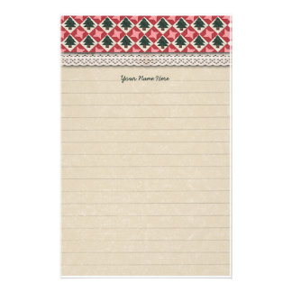 Quilted Pine Trees and Stars Stationery