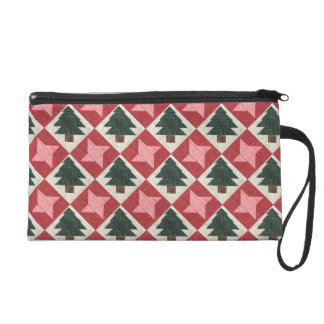 Quilted Pine Trees and Stars Wristlet Purse