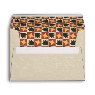 Quilted Pine Trees and Yellow Stars Envelope