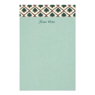 Quilted Pine Trees Faux Parchment Stationery