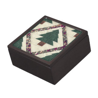 Quilted Pine Trees Jewelry Box