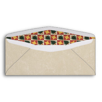 Quilted Pine Trees Yellow Stars Envelope