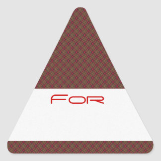 Quilted Red Diamond Pattern Gift Tag Triangle Sticker