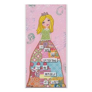 Quilted Skirt Girl Inspirational Mixed Media Art Poster