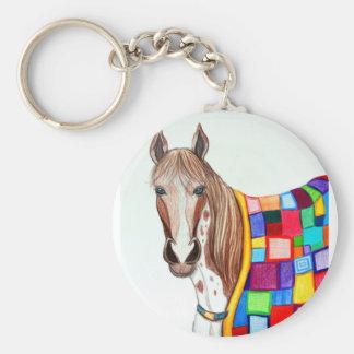 Quilted Stallion Basic Round Button Keychain