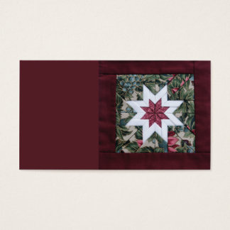 quilted star in maroon business card