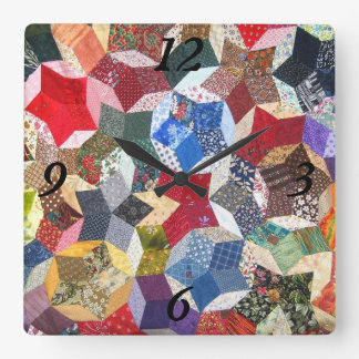 Quilted Stars Wall Clock