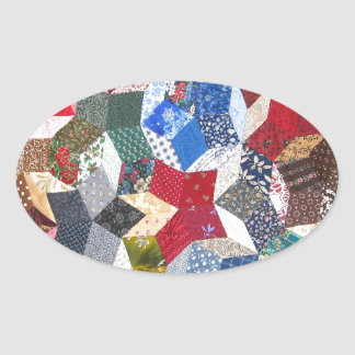 Quilted Stars Oval Sticker