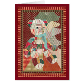 Quilted Teddy Bear Christmas Card