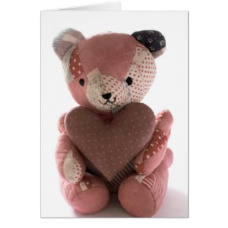 quilted teddy bear with calico heart card