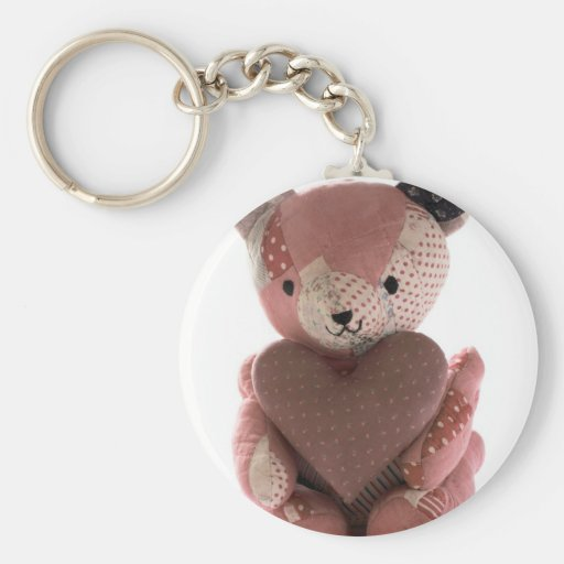 quilted teddy bear with calico heart keychain