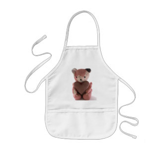 quilted teddy bear with calico heart kids apron