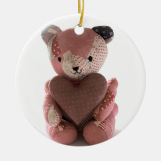 quilted teddy bear with heart circle ornament